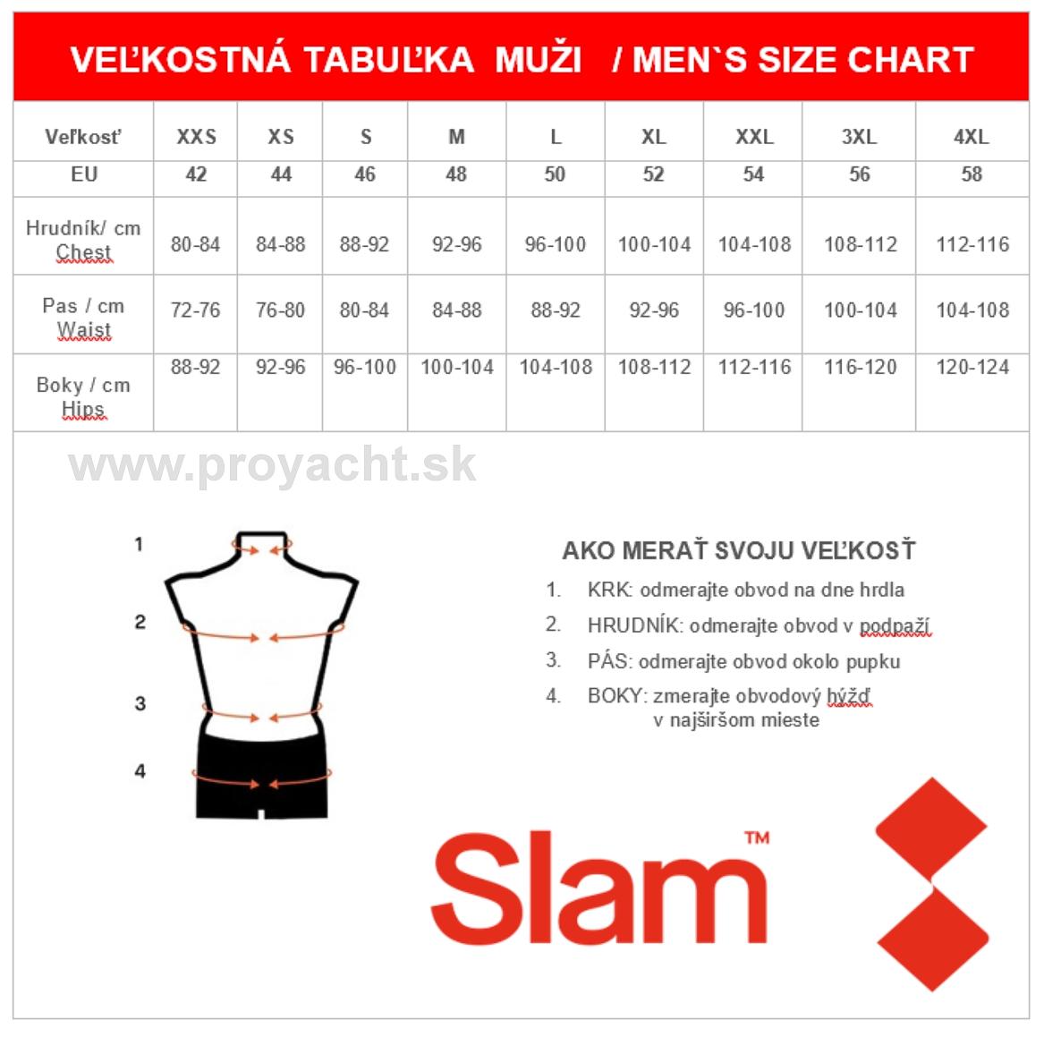 veľkostná tabulka SLAM