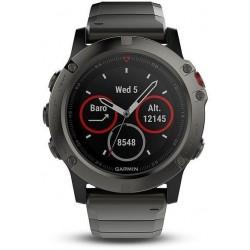 Multišportové hodinky - fénix 5X Sapphire, šedé, Black band - GARMIN